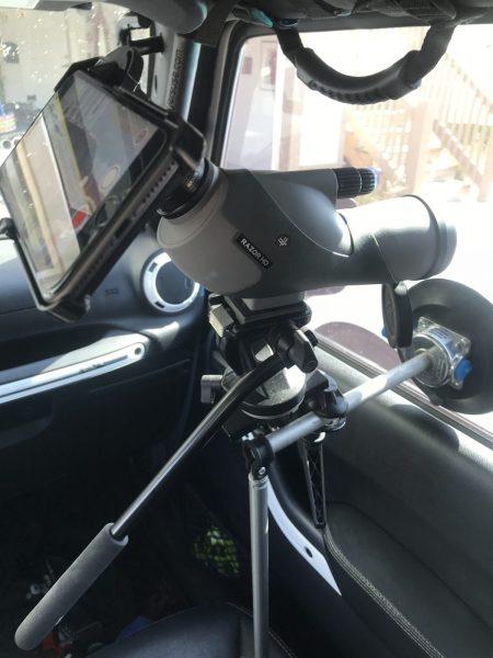 Vortex 20X-60X85 Digiscope.iPhone 8+ Manfrotto suction mount